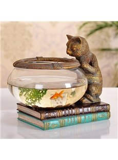 Creative Cute Little Cat Fish Bowl Desktop Decoration