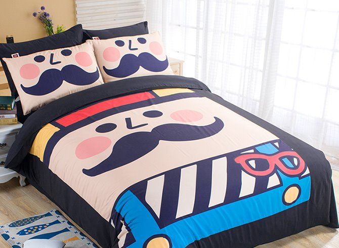 Happy Mustache Kids 4-Piece Duvet Cover Set