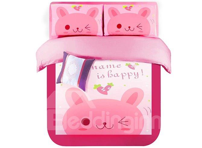 Super Lovely Pink Rabbits Kids 4-Piece Duvet Cover Set