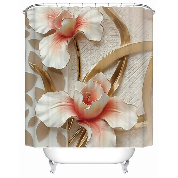 Vivid 3D Flower Design Thicken Shower Curtain