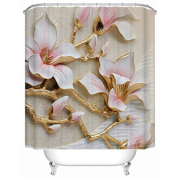 76 White Magnolia Pattern Polyester Waterproof And Eco Friendly 3D Shower Curtain