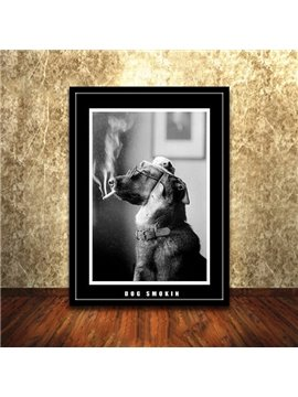 Classical Black and White Dog Smoking 1-Panel Framed Wall Art Print
