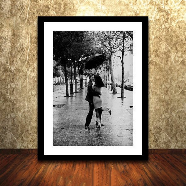 Romantic Lovers in Rain 1-Panel Framed Wall Art Print