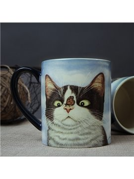 Cute Fluffy Cat Ceramics Handled Coffee Mug