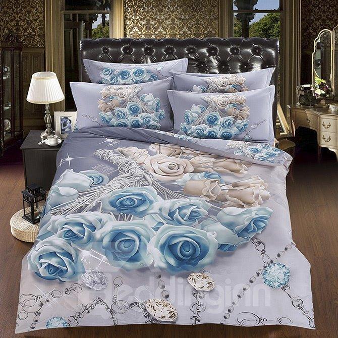 Luxury Diamond Blue Rose Printing 5-Piece Cotton Comforter Sets
