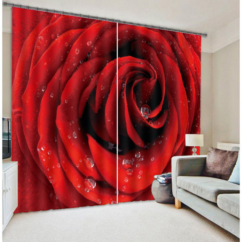 60 3D Blooming Dewy Red Rose Printed Romantic Style Custom Shading Curtain  For Living Room
