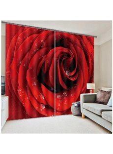 Romantic Dewy Red Rose 3D Blackout Curtain