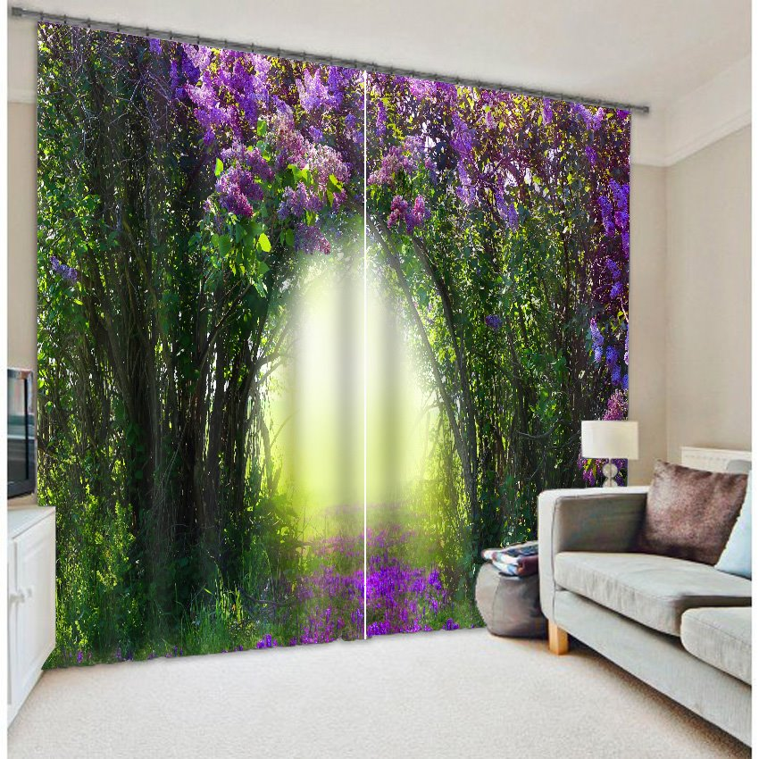3d green trees and purple flowers corridor printed thick polyester