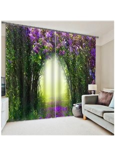 Green Tree and Purple Flower Corridor Print 3D Curtain