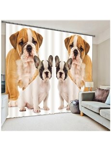 Lovely Dogs Print Polyester 3D Blackout Curtain