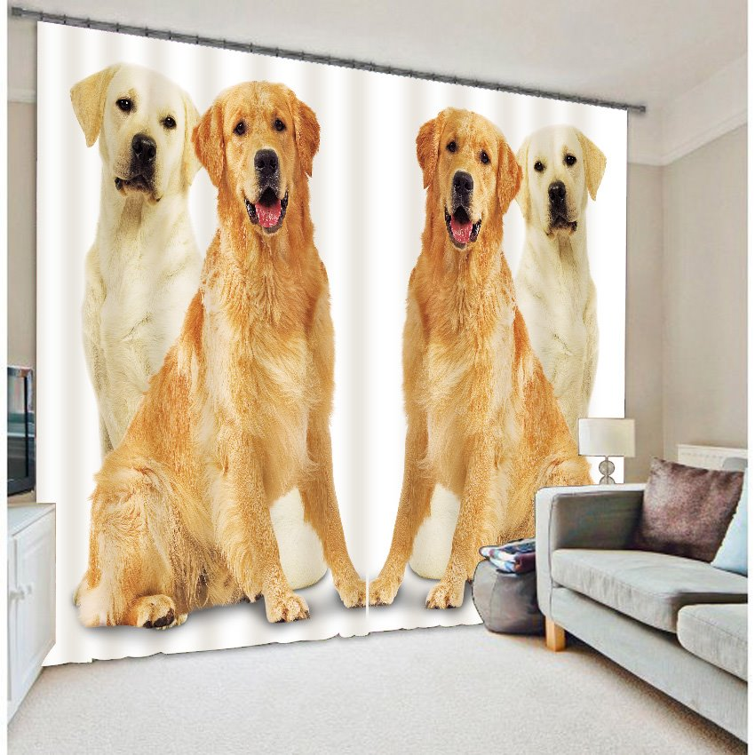 3D Symmetric Lovely Dogs Printed Animal Style Custom Blackout Curtain