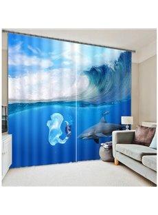 Elegant Blue Ocean Functional 3D Blackout Curtain