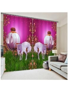 Elegant Magic White Horses Versatile Printing 3D Curtain
