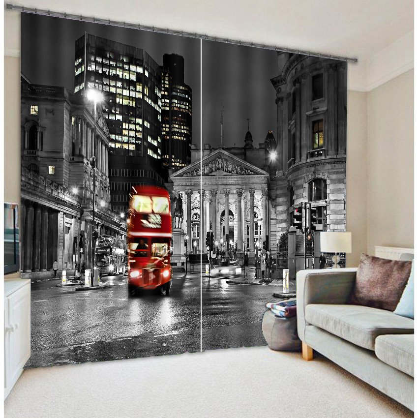 3D Night City Bus Printed Polyester Modern Style Decoration Custom Curtain for Living Room