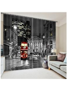 City Bus at Night Print Polyester 3D Curtain