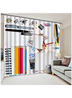 Shool Stationery Print Polyester 3D Blackout Curtain
