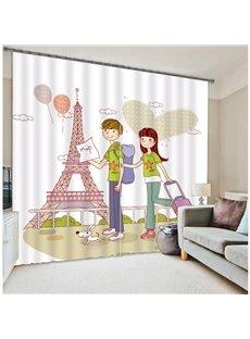 Romantic Cartoon Lovers 3D Blackout Curtain