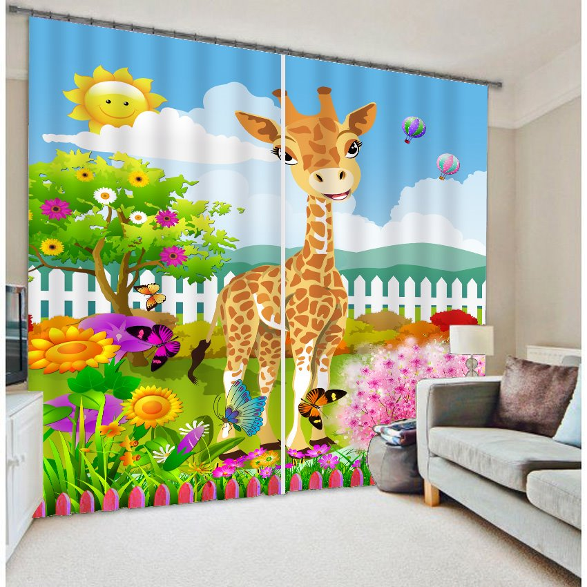 3D Cute Elks Butterflies and Sunflowers Printed Cartoon Style Blackout and Decorative Curtain
