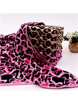 Heart Shapes Decorated Leopard Pattern Baby&Kids Blanket