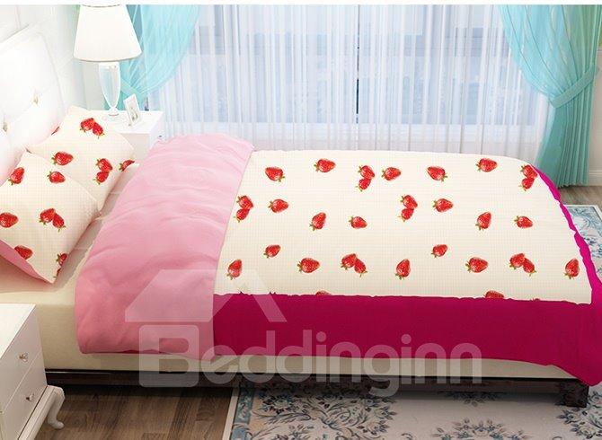 Vivid Strawberry Pattern Kids 4-Piece Duvet Cover Sets