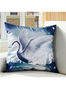 Graceful Flying Swan Digital Printing Throw Pillow