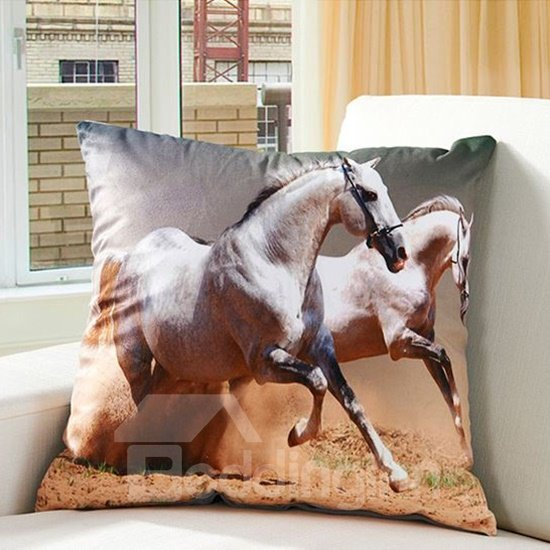 Running Horses Printing Super Soft Throw Pillow