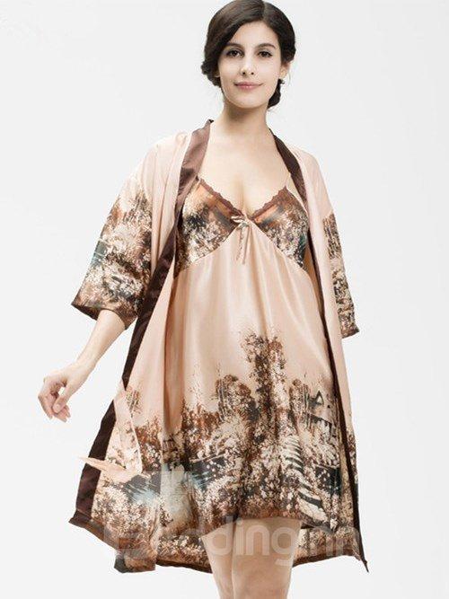 Noble Design Paysage Print Imitated Silk Chemise