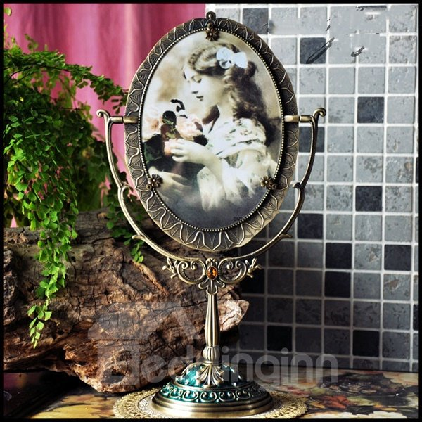 Luxurious European Style High Quality Rotatable Mirror Photo in The Back