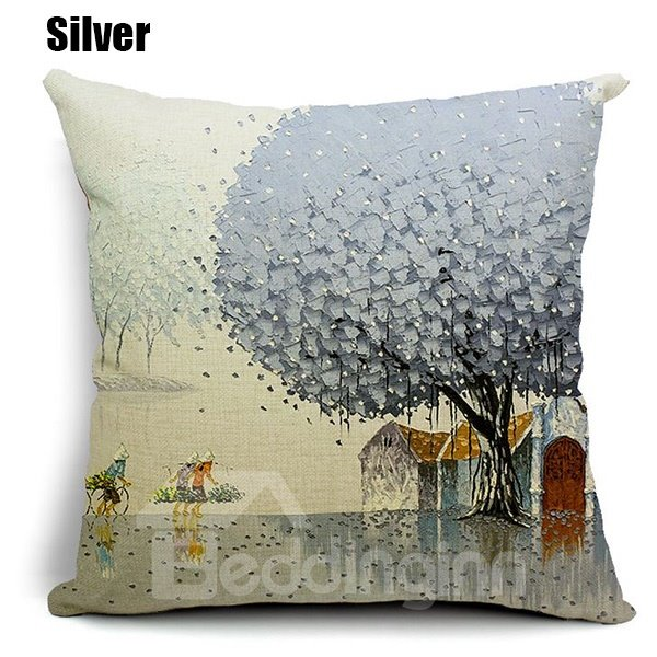 Pastoral Fresh Tree Scenery Printing Throw Pillow