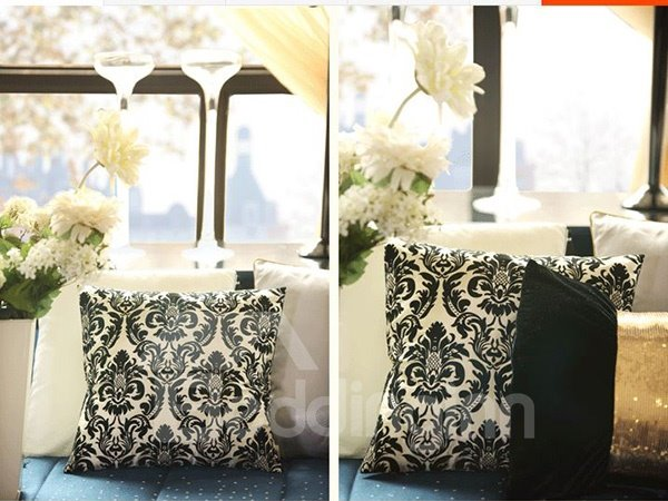 Luxury European Black Jacquard Design Throw Pillow Case