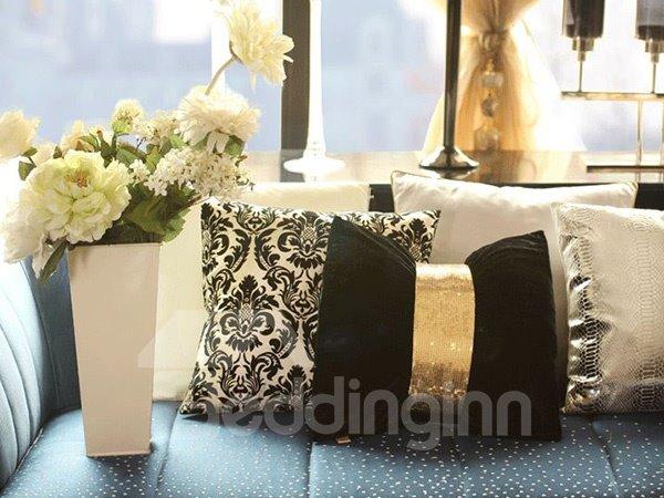Luxury European Black Jacquard Design Throw Pillow Case