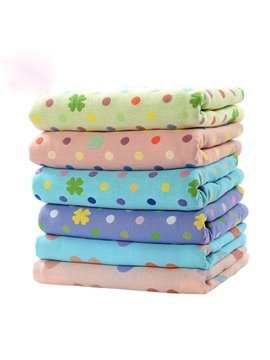 100% Cotton Polka Dot Pattern Water Absorption Baby Bath Towel