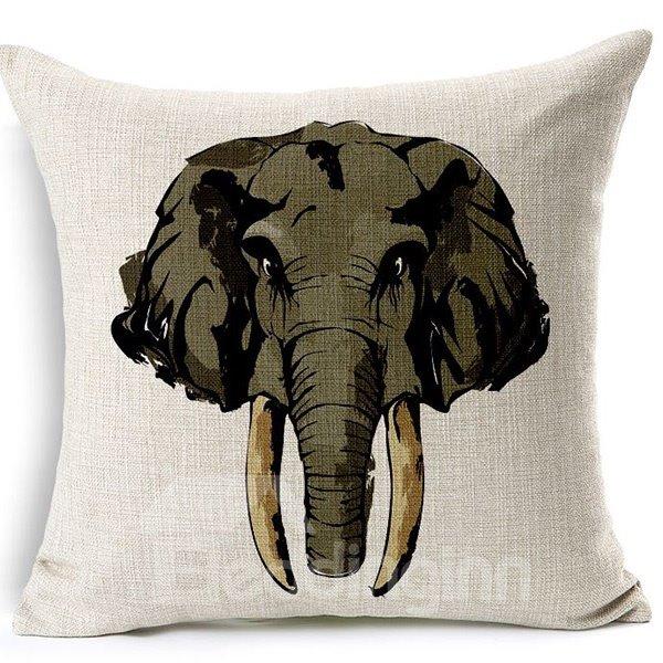European Style Elephant Print Cotton Linen Throw Pillow