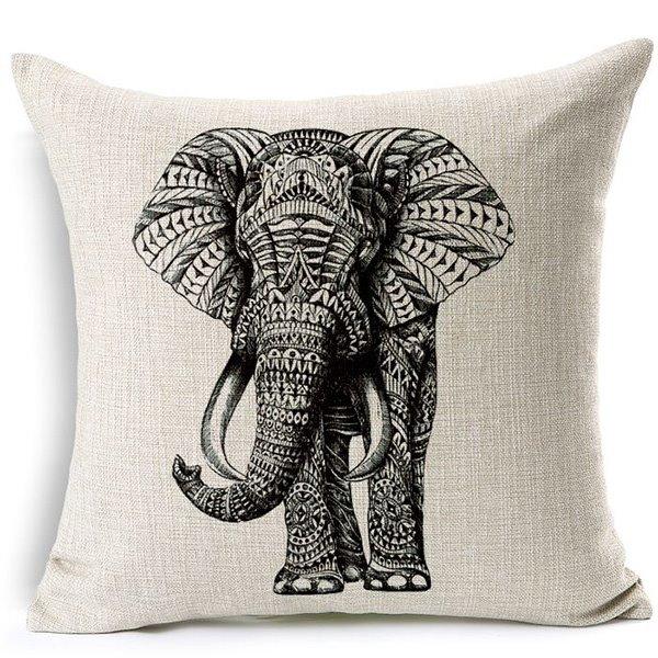 European Concise Style Elephant Print Throw Pillow