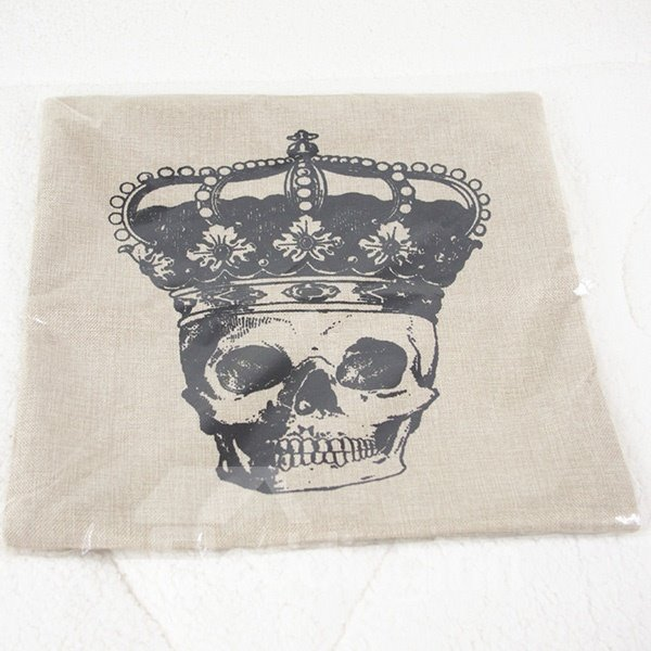 Chic Skull & Crown Print Flax Throw Pillow Case for Hallowmas