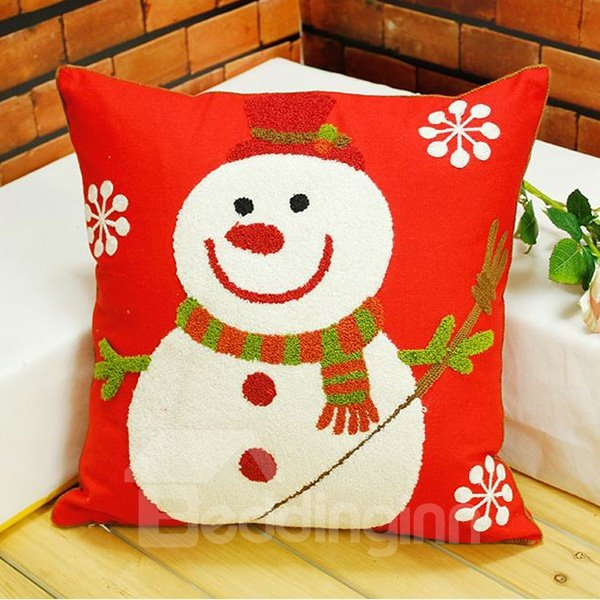 Lovely Snowman Snowflake Design Cotton Red Throw Pillow for Christmas