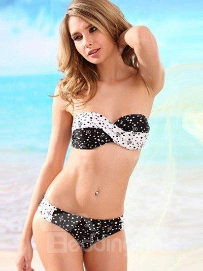 Trend Block Color Strapless Wireless Sexy Bikini
