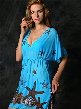 Starfish and Deep V-neck Swimwear with Half Sleeve Sexy Cover-ups