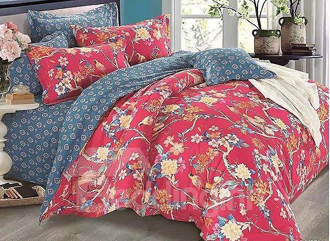 European Pastoral Style Flowers Birds Print 4-Piece Duvet Cover Sets