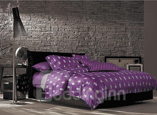 Perfume Bottle Print European Style Noble Purple 4-Piece Duvet Cover Sets