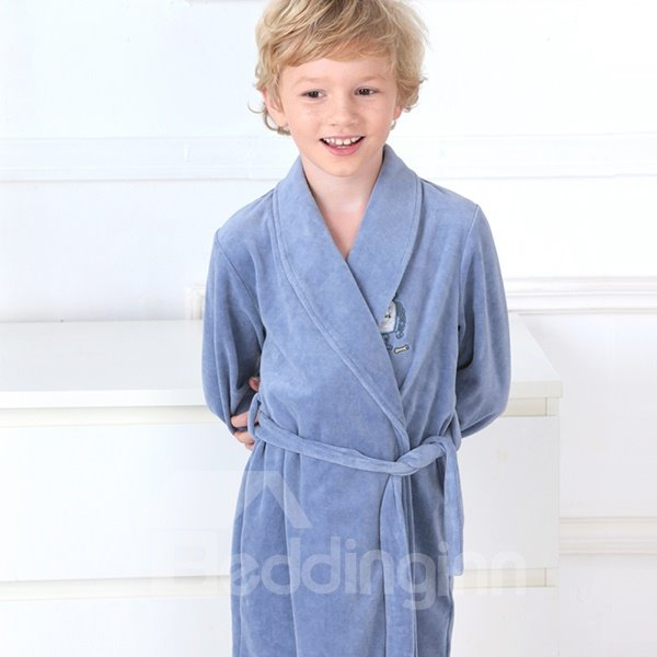 Simple Style Robot Embroidered Kids Robe