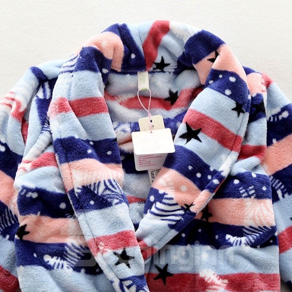 Colorful Stripes Pattern Long-Sleeved Warm Flannel Boys Robe
