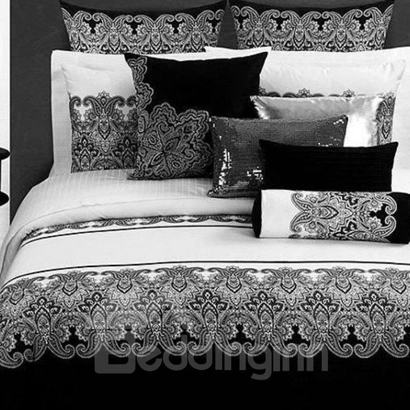 Black White Classical Jacquard Design Cotton 4-Piece Bedding Sets/Duvet Cover
