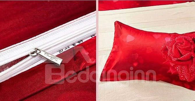 Dewy Red Rose 4-Piece Cotton Duvet Cover Sets