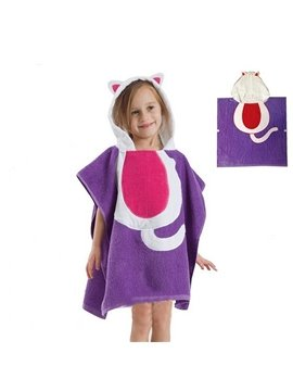 Lovely Purple Cat Kids Cape Bath Towel