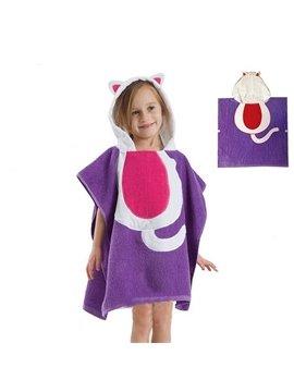 Lovely Purple Cat Kids Cape Bath Towel