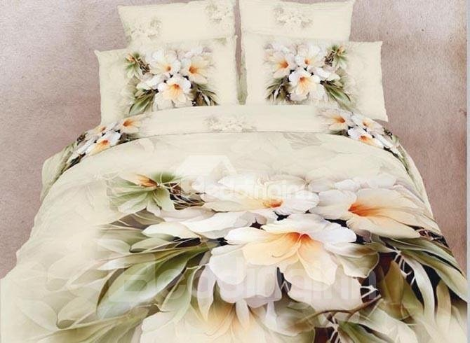 Elegant White Flowers Print Cotton Fitted Sheet