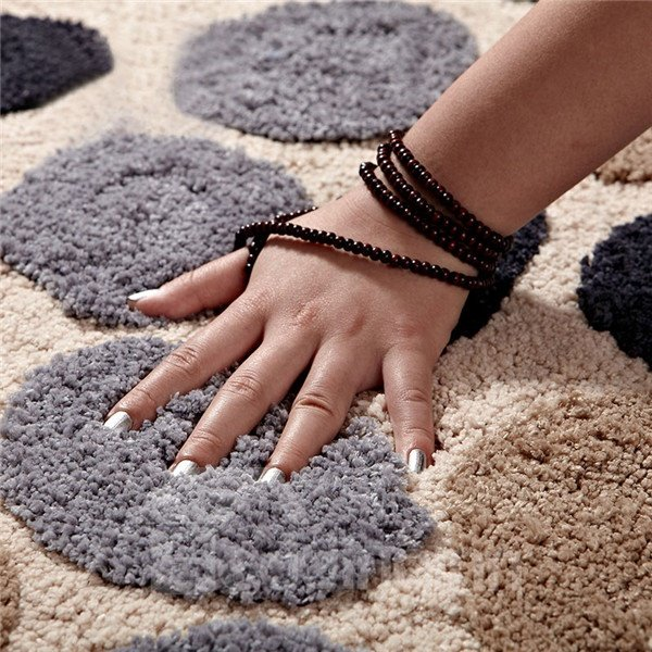 Soft Shaggy Non Slip Absorbent Stone Pattern Bath Rug