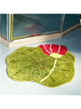 Graceful Soft Shaggy Non Slip Lotus Pattern Bath Rug