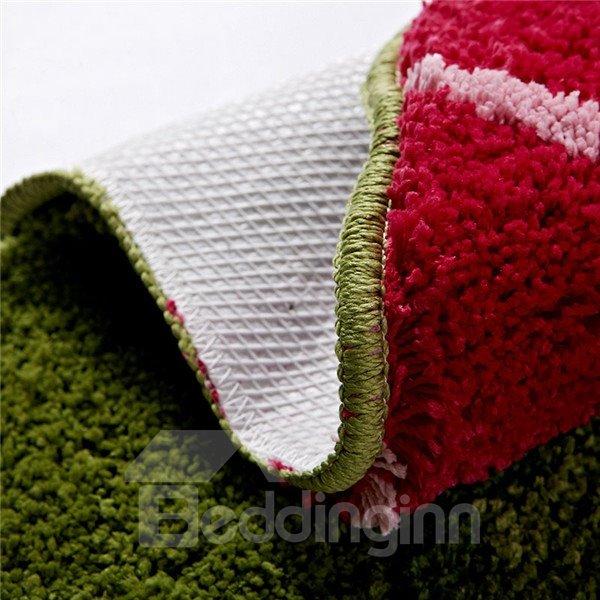 Graceful Soft Shaggy Non Slip Lotus Pattern Bath Rug